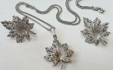 RHINESTONE LEAF Women Girl CHAIN NECKLACE PENDANT & EARRINGS FASHION JEWELRY SET