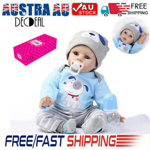 22inch 55cm Reborn Toddler Baby Doll Boy Silicone Body Boneca With Clothes Gifts