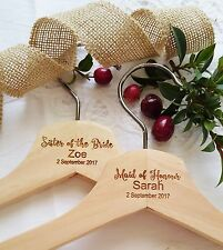 Personalised Engraved Wooden Coat Hangers Bride Bridesmaid Wedding Gift