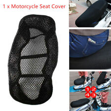 1x Polyester 3D Motorcycle Black Seat Cover Mesh Net Heat insulation Sleeve Trim