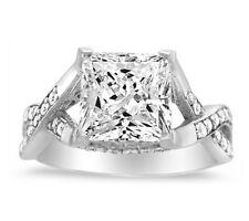 14K White Gold Finish Square Princess Cut Diamond Solitaire Engagement Ring