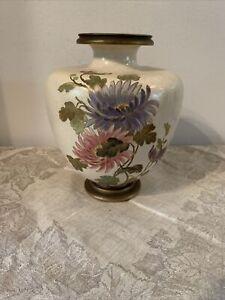 Antique Royal Doulton Lambeth/ Burslem Stoneware Vase Flower Motif Stamped