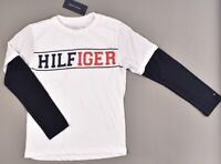 TOMMY HILFIGER Boys' Kids Layered Look Long Sleeve Top, White/Navy, 4-14 years