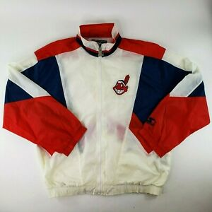 VTG Starter MLB Cleveland Indians Windbreaker Colorblock Spellout Chief Wahoo XL