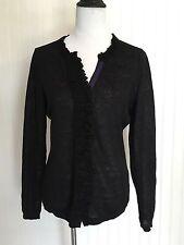 Elie TAHARI Black LINEN Cardigan Sweater Women's Medium Long Sleeves Pleated