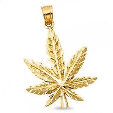 14k Yellow Gold Marijuana Leaf Pendant Pot Charm 420 Cannabis Hip Hop Style