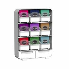 Tea Bag Storage Box Condiment Organizer Display Chest Holder Kitchen New White