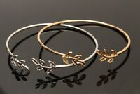 Women Cuff Open Bangle Gold Silver Plated 1Ps Leaves Adjustable Bracelet Fashion