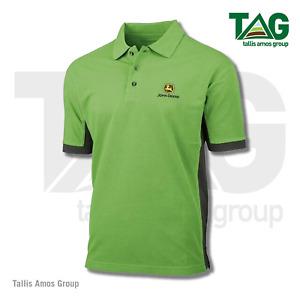 Genuine John Deere 365 Polo Shirt, Green with black side panels - MCDW01510J