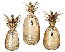 CANDLE HOLDERS - BRASS PINEAPPLE CANDLE HOLDER TRIO - SET OF THREE