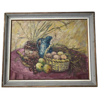 Dutch School 20th Century Oil Painting Impressionism Still Life Basket Fruit