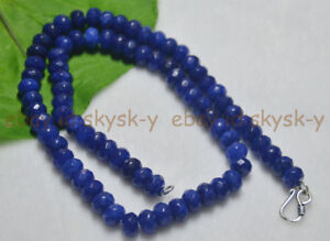 Fine Blue 5x8mm Sapphire Faceted Roundel Gems Necklace Silver Clasp 14-25inch