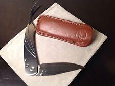 WILLIAM HENRY Prototype POCKET KNIFE / FOLDING KNIFE with LEATHER SHEATH Unused