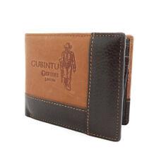 Homme Cuir Véritable Cowboy Portefeuille Trifold ID Card Holder avec Coin Sac à main à fermeture éclair UK