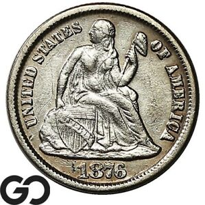 1876-CC Seated Liberty Dime, Better Date Carson City Issue