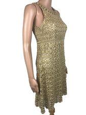 Diane von Furstenberg Adie Gold Metallic Crochet Sheath Dress Sleeveless Lined S
