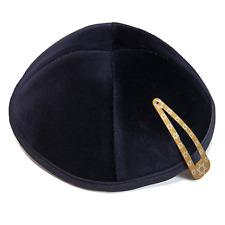 Navy Blue Velvet 20 cm Kippah Yarmulke Jewish Kippa Israel Cap Judaica w/clip