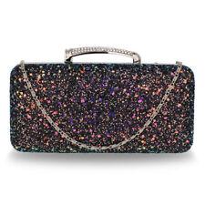 Stunning Black  Glitter Evening Wedding Clutch Box