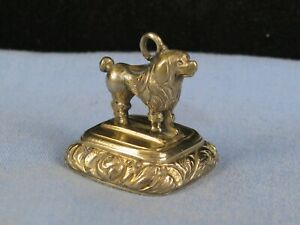 ANTIQUE GOLD FILLED MINIATURE POODLE DOG CARNELIAN AGATE STONE FOB SEAL CHARM