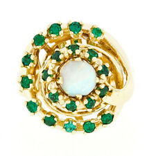 Vintage 14k Yellow Gold Round Opal w/ 0.62ctw Emerald Tiered Swirl Cocktail Ring