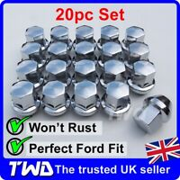 20x ALLOY WHEEL NUTS FOR FORD (M12x1.5) CHROME TAPERED SEAT 19MM HEX BOLT [20N]