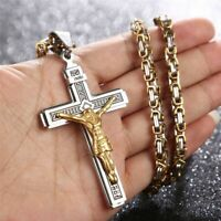 """Jesus Christ Cross Crucifix Stainless Steel Pendant Necklace 24""""Chain 4 styles"""