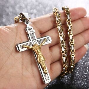 "Jesus Christ Cross Crucifix Stainless Steel Pendant Necklace 24""Chain 4 styles"