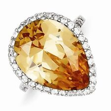 STERLING SILVER LARGE PEAR SHAPED AMBER/CHAMPAGNE-COLORED CZ HALO RING - SIZE 6