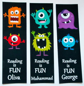 3 CHILDRENS PERSONALISED BOOKMARKS,MONSTERS.READING IS FUN 18cm x5cm laminated