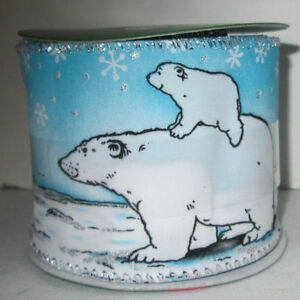 Christmas Holiday Indoor Craft Blue White Polar Bear Glitter Wire-Edged Ribbon