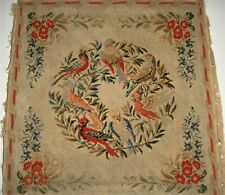 Antique needlepoint of birds and flowers