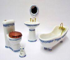 Badezimmer 5 Teilig Weiß/blau Für Puppenhaus Bad Puppenstube 1:12   29803 Np