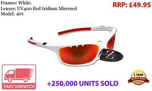 RayZor White Sports Wrap Sunglasses Uv400 Vented Red Mirrored Lens (401)