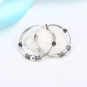 1pair Bohemian Cuff Hoop Earrings 24mm Vintage Hook Pierced Earring Women Fashio