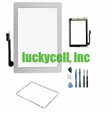 White Adhesive Digitizer Touch Screen Glass For iPad 3 or 4 + Frame Bezel +Tools
