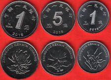 China set of 3 coins: 1 jiao - 1 yuan 2019 UNC
