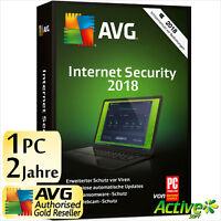 AVG INTERNET SECURITY 1 PC 2 Jahre 2018 Vollversion DE Antivirus NEU 2017