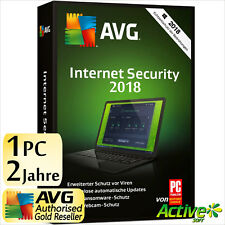 AVG INTERNET SECURITY 1 PC 2 Jahre 2018 Vollversion DE Antivirus NEU 2017
