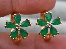18K Yellow Gold Filled - Opal Emerald Jade Topaz Flower Clover Wedding Earrings