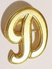 """broche rétro lettre """"D"""" en majuscule couleur or rodier * 3231"""