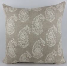 "Shabby Chic Linen Paisley fabric Large 20"" Cushion Cover Clarke & Clarke Harriet"