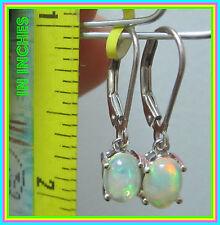 Ethiopian Welo Opal Leverback Drop / Dangle Earrings Sterling Silver 925