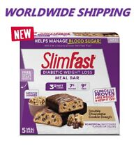 Slim Fast Diabetic Weight Loss Meal Bar Double Chocolate Cookie Dough WORLD SHIP