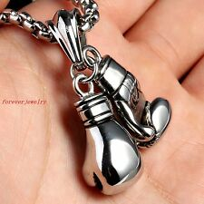 Fashion Men's Boxing Gloves Silver Stainless Steel pendant Necklace Free Chain