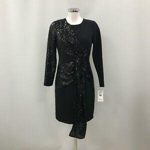 New Aidan Mattox Slip Dress Womens Size UK 12 Black Sequin Glitter Formal 242220