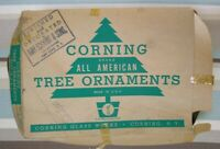 Vintage Lot of Glass Metal Christmas Ornaments in Rare Corning All American Box