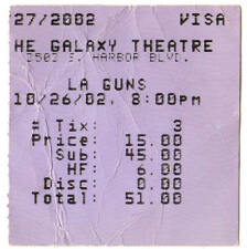 LA GUNS Concert Ticket Stub SANTA ANA CALIFORNIA 10/26/02 GALAXY THEATRE Rare