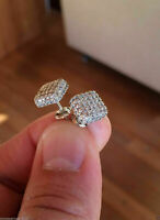 Solid 14K White Gold Over 1.28 Ct Round Cut Diamond Square Cluster Stud Earrings