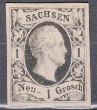 Saxony, Sc#5, VF NG, 1 Ngr Black Proof on White card, Mi#4P4, *RARE*