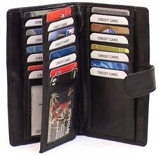 Genuine Lamb Leather Breast Wallet BLACK 30 CARDS with Button Loop # 4116-L